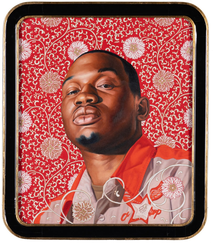 """Kehinde Wiley  Ivelaw I (From the world stage: China), 2007  Oil on canvas, in a lacquered and gilded frame Signed """"Kehinde Wiley"""" (back) 75 x 64,5 cm"""