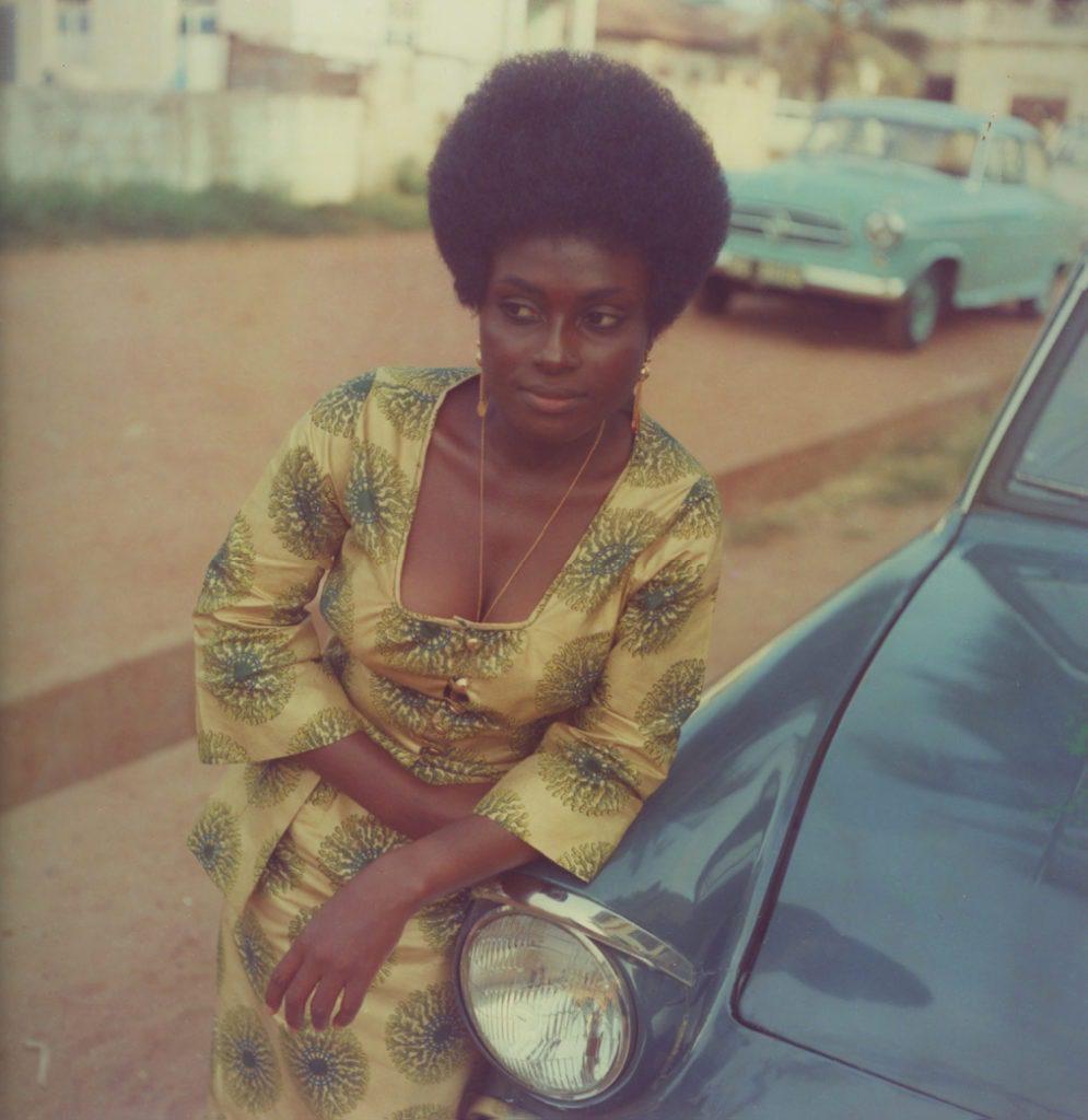 """James Barnor  Miss Sophia Salomon, Accra, ca. 1972  Silver print 70 x 70 cm  Signed """"James Barnor""""."""