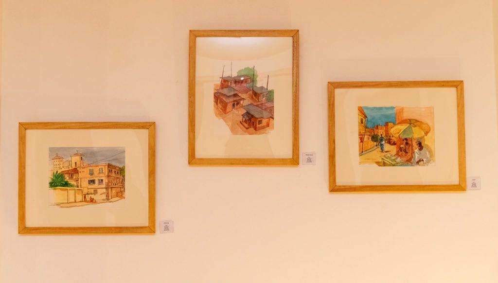 Les oeuvres de l'exposition : « les Lignes de villes » des artistes Hector Sonon et Fred Cadoux