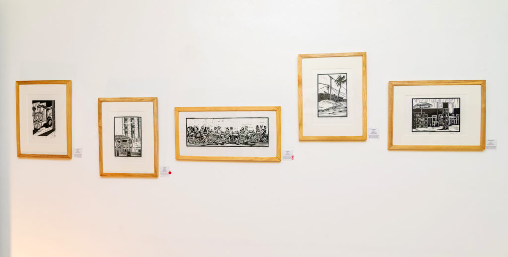 Les oeuvres de l'exposition : « les Lignes de villes » Hector Sonon et Fred Cadoux